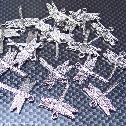 2 große Anhänger Libelle 26 mm dragon fly silber Kinderperlen