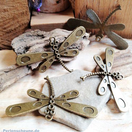 1 Metall Kettenanhänger Libelle 60 mm bronze antik