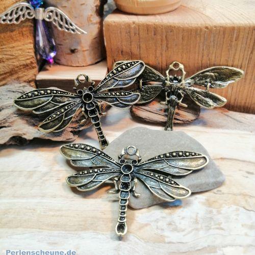 1 Metall Kettenanhänger Libelle 71 mm bronze antik