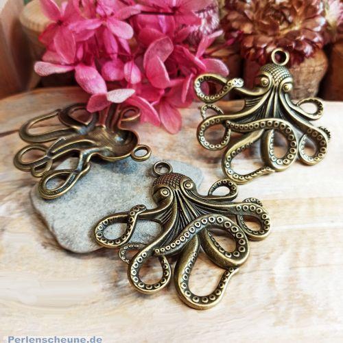 1 Metall Kettenanhänger Octopus 57 mm bronze antik