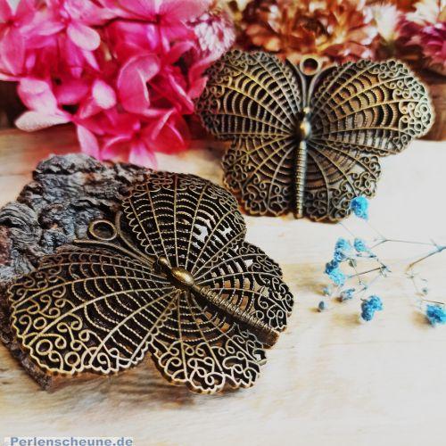 1 Metall Kettenanhänger Schmetterling 68 mm bronze antik