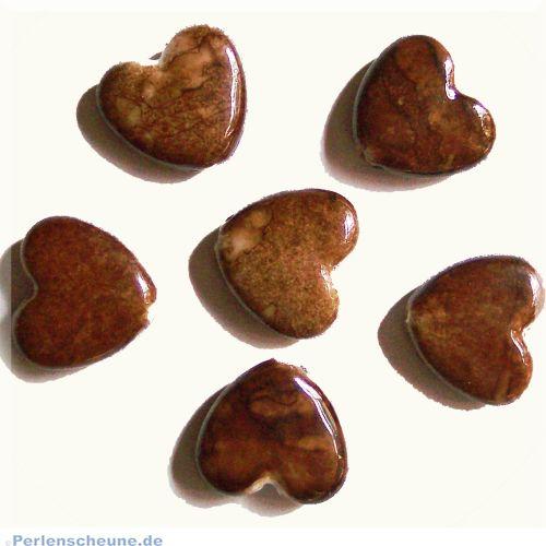 Perlenset 20 Herzperlen braun marmoriert 13 mm Kinderperlen