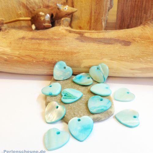 2 Perlmutt Herzperlen Anhänger türkis blau 15 mm
