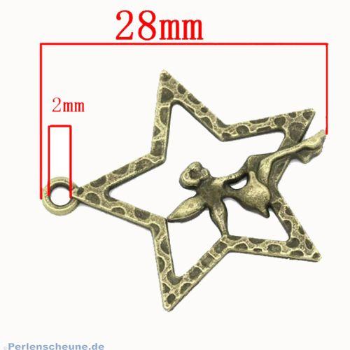 1 großer Ketten Anhänger Stern  mit Elfe in bronze antik 28 mm