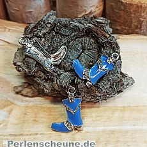 1 Kettenanhänger Ohranhänger Stiefel Emaille silber blau 23 mm