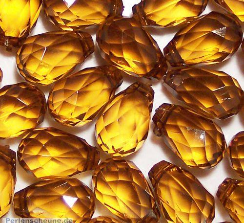 10 große schöne Tropfen Anhänger Perlen braun 18 mm