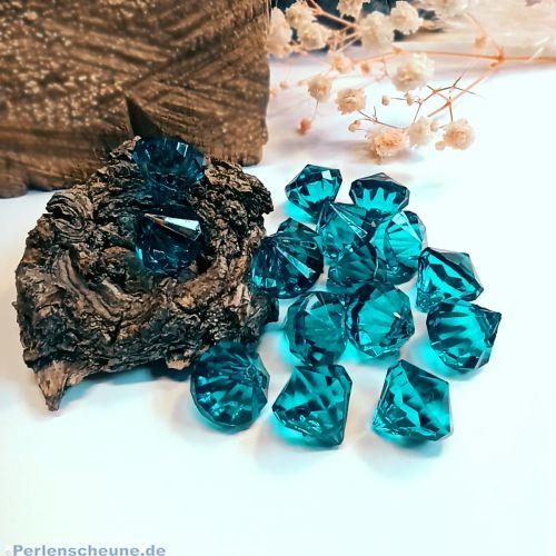 10 facettierte große Diamantimitat Anhänger Tropfen blau grün 15 mm