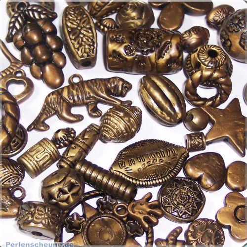 Set mit 20 großen Spacer Perlen 15 - 35 mm antik bronze
