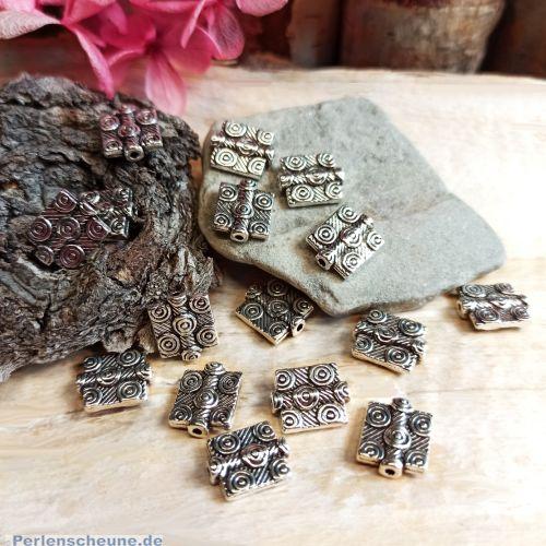 10 antik silber Metallperlen Spacer Rechteck 12,5 mm