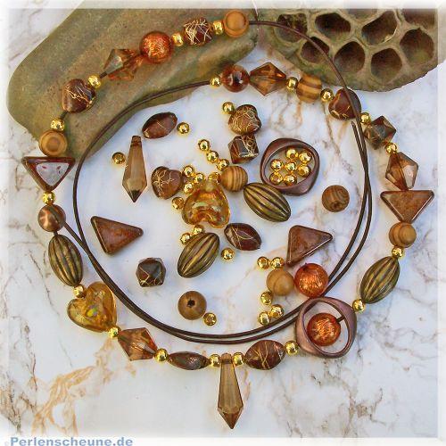Kettenset Formenmix brauntönige Perlen mit Lederband