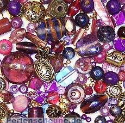 über 100 Perlen Set mit 80g Flieder-Lila Perlen Materialmix 6 -30 mm