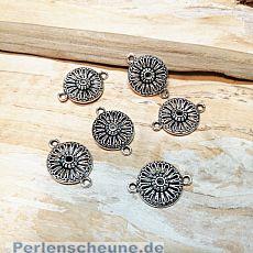 2 Metall Verbinder Blume für Ketten Armbänder 22 mm