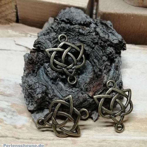 1 Metall Verbinder keltischer Knoten für Ketten Armbänder 25 mm bronze antik