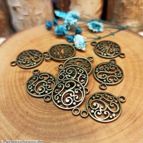 1 Metall Verbinder für Ketten Armbänder 20 mm bronze antik