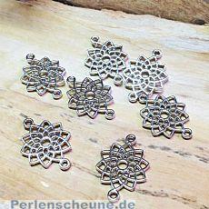 4 Metall Verbinder Blume für Ketten Armbänder 20 mm