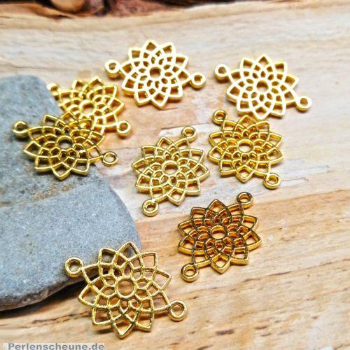 4 Metall Verbinder Blume für Ketten Armbänder 20 mm gold
