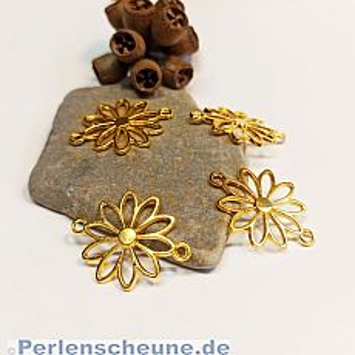 1 Metall Verbinder Gänseblümchen für Ketten Armbänder 25 mm gold