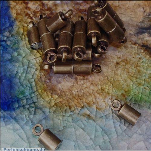2 Magnetverschlüsse Walzenform 18 mm antik bronze