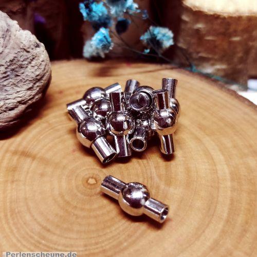 1 Magnetverschluss für 3 mm Leder Walzen/Kugelform 15 mm silber antik