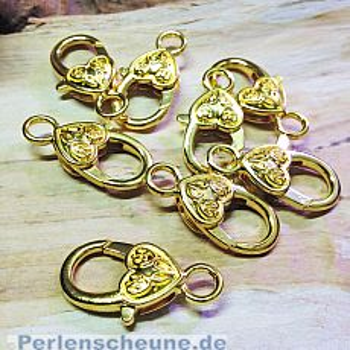 1 großer Karabinerhaken Herz in gold hell 26 mm