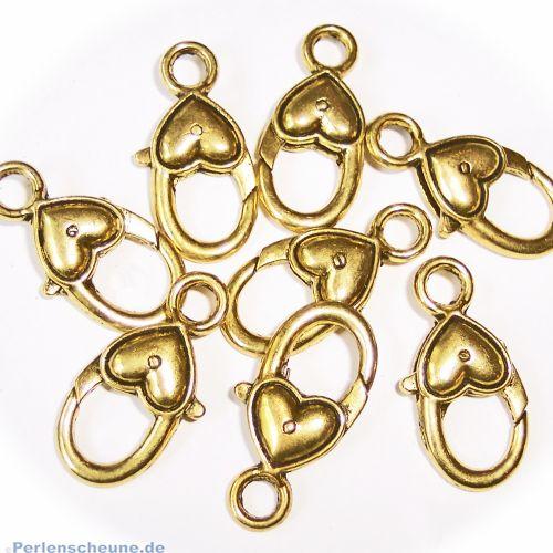 1 großer Karabinerhaken Herz in gold 26 mm