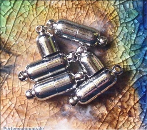1 Magnetverschluss Walzenform basic antik silber 16 mm