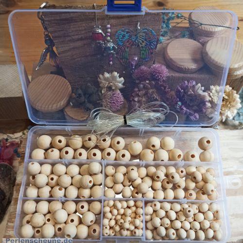 1 Box 220 Holzperlen Naturperlen hell unbehandelt 6 - 14 mm