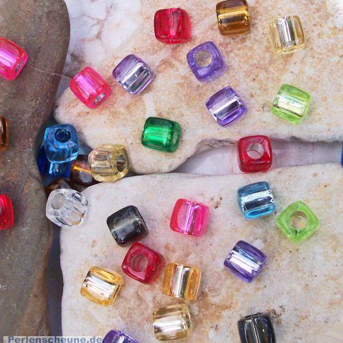 30 Perlen für Kinder 8 mm Acryl mit Silbereinzug