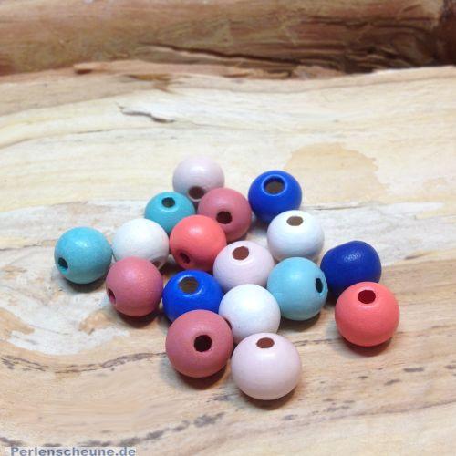 20 Kinderperlen Hinokiholz Kugeln pastell bunt 12 mm
