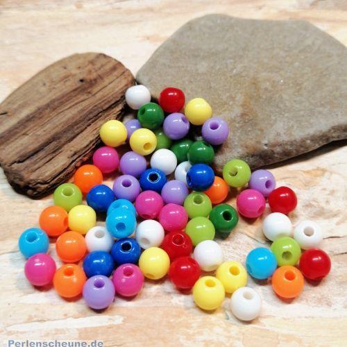 50 Acrylperlen buntes Set 6 mm Loch 1,5 mm