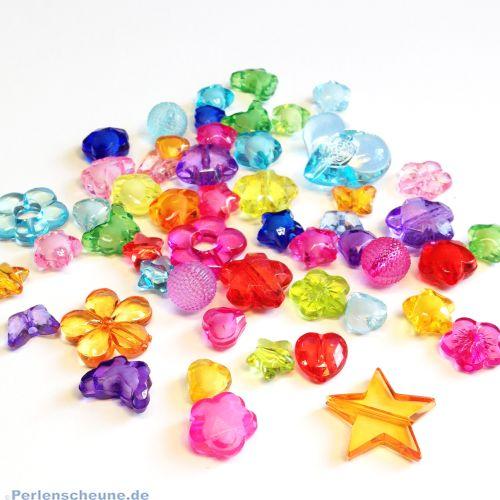 35 bunte transparente Kinderperlen Mischung 10 - 25 mm