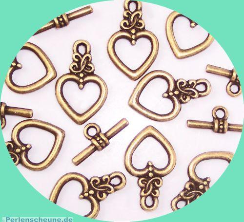 5 Sets Herz Knebelverschlüsse 18 mm bronze antik