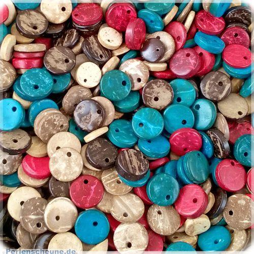 30 Perlen Anhänger aus Kokosnussholz Mix 10 mm