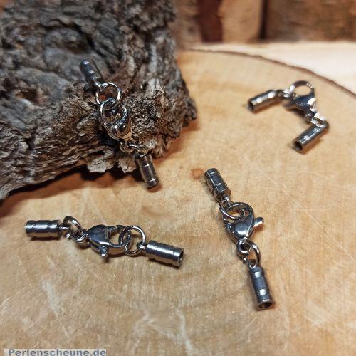 1 Edelstahl Komplettverschluss Karabinerhaken silber antik für Kette 1,5 mm