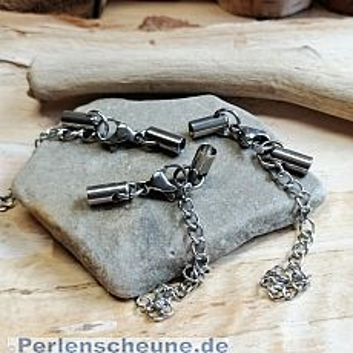 1 Edelstahl Komplettverschluss Karabinerhaken silber antik für Kette 3 mm
