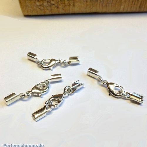 1 Komplettverschluß Karabinerhaken silber für Kette 1,5 - 3 mm