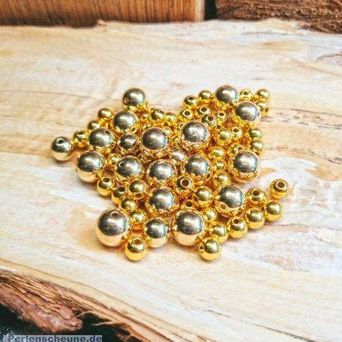 Kugelperlen 30 Spacer Perlen 6, 8, 10 mm Acryl Zwischenperlen gold