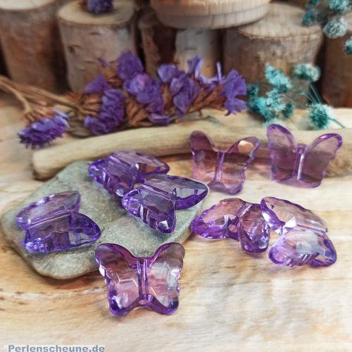2 Acrylperlen Schmetterling violett transparent 22 mm