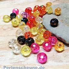 Perlenset Rondelle irisierend 40 fancy faceted Perlenmix 8 mm