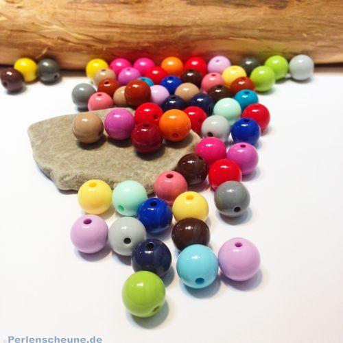 Perlenset 20 opake Acrylperlen ohne Naht 10 mm bunt