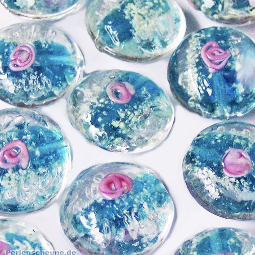 Perlenset 2 Glasperlen Lampwork leuchten im Dunkeln 20 mm