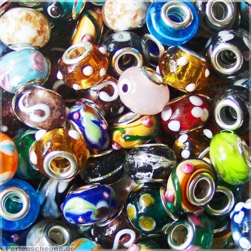 Glasperlenset 20 Module Lampworkperlen Loch 4-5 mm