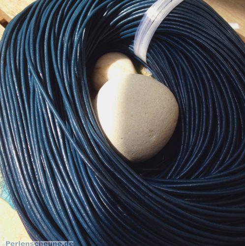 1 m Lederschnur Lederband 2 mm dunkel blaugrau
