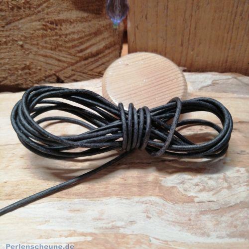 1 m Lederschnur Lederband 1,5 mm dunkelgrau braun Lederschnüre