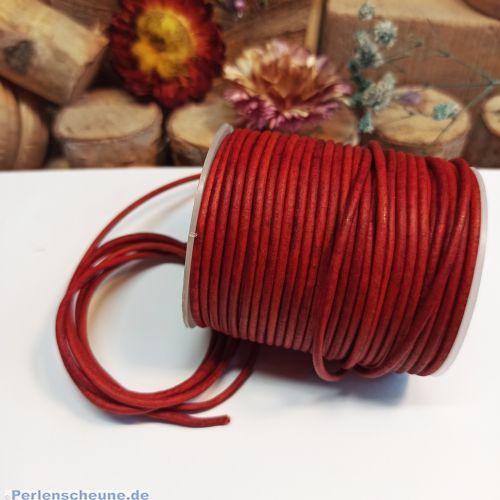 1 m Lederschnur Lederband Vintage 2 mm dunkelrot Lederschnüre
