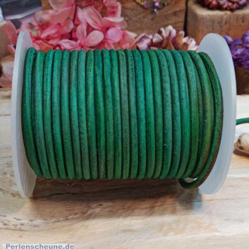 1 m Vintage Lederschnur Lederband 3 mm grün meliert Lederschnüre
