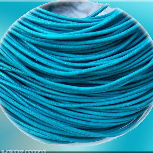 1 m Lederschnur Lederband 1,5 mm türkisblau Lederschnüre