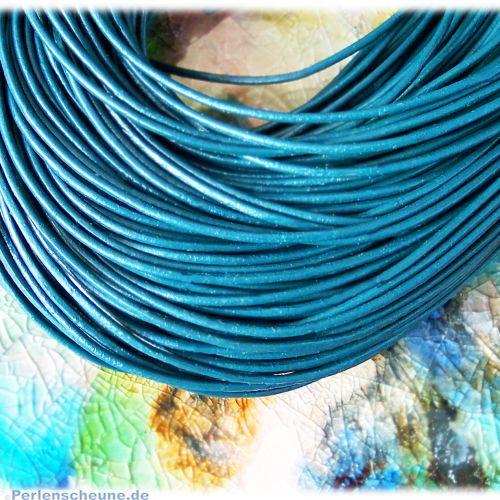 1 m Lederschnur Lederband 1,0 mm türkisblau dunkel Lederschnüre
