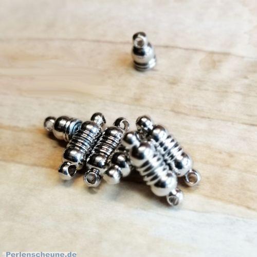 2 kleine Magnetverschlüsse Walzenform 14 mm antik silber