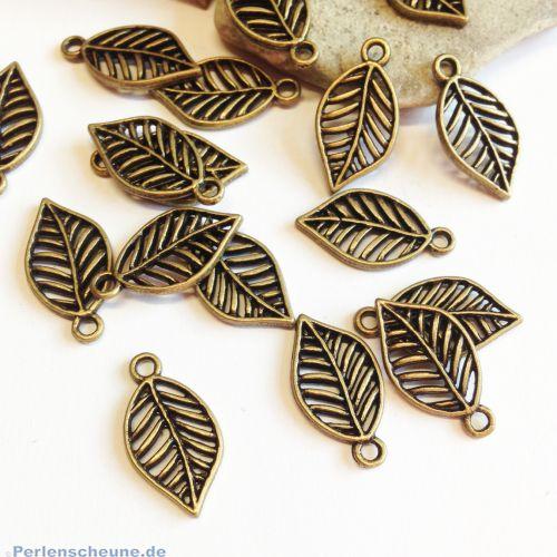 10 Ketten Anhänger filigrane Blätter bronze antik 19 mm